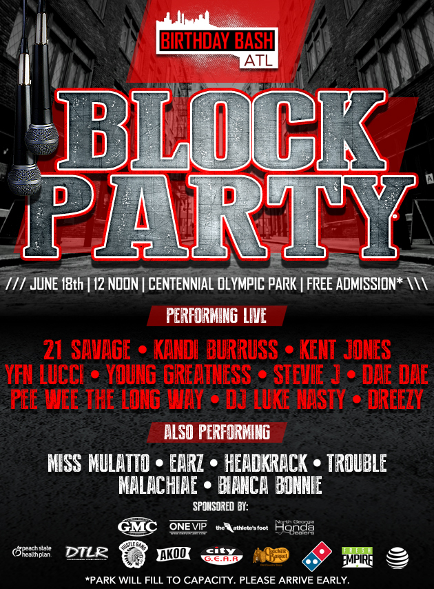 Block Party Centennial Park 12noon June 18th Be there!